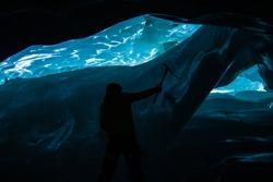 Ice cave climbing in Switzerland