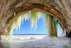 Ice cave on Lake Superior, Grand Island Upper Michigan
