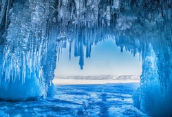 Ice cave on Olkhon island on Baikal lake in Siberia,Russia at winter time