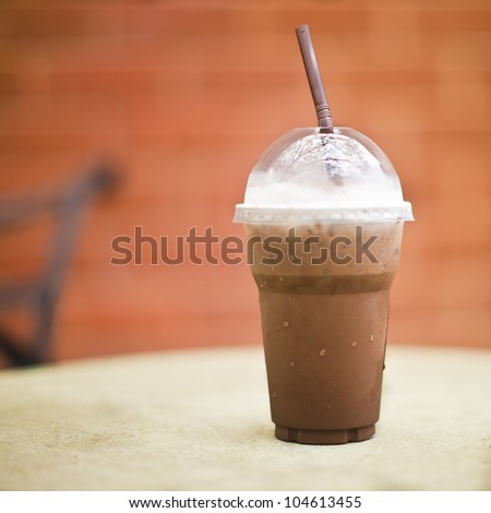 Ice chocolate on a table
