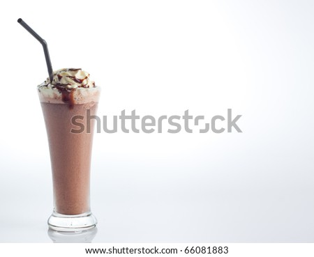 ice chocolate with whipped cream and hot fudge isolate on white background.