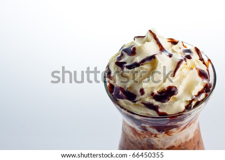 ice chocolate with whipped cream isolated on white.