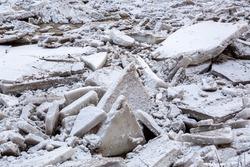 Ice chunks into the river Ogre in March 2021 in Ogre in Latvia