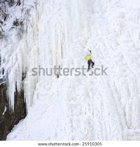 ice climbing at the by the waterfall Montmorency near Quebec City, Canada