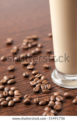 ice coffee and coffee beans