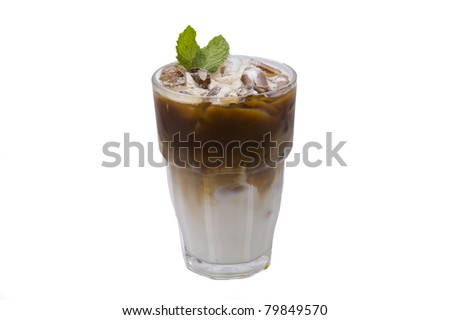 ice coffee and mint leaves on white backgrounds