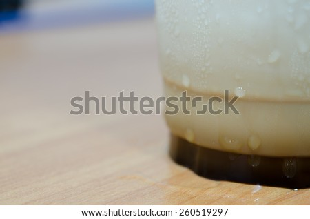 ice coffee glass on table with water drop