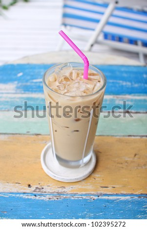 ice coffee on grunge wood table