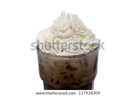 ice coffee on white backgrounds