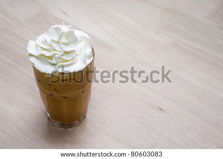 ice coffee on wood backgrounds