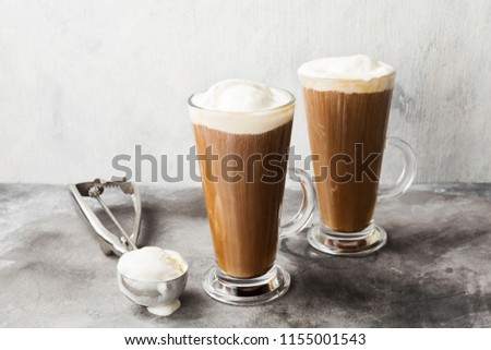 Ice coffee with ice cream on gray background #1155001543