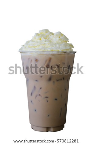 Ice coffee with whipped cream isolated on white background.with whipped cream #570812281