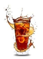 Ice cola drink with splash, isolated on white background