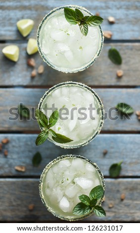 Ice cold beverage with lime and mint
