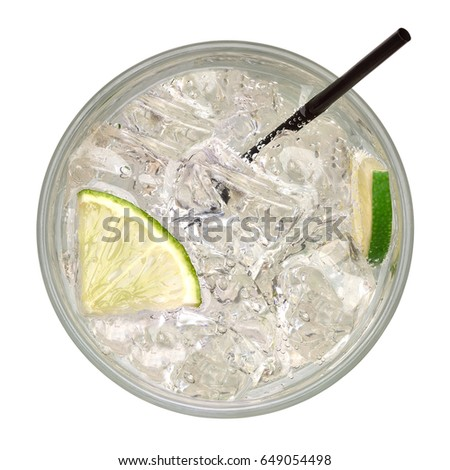 Ice cold caipirinha from top, mojito cocktail, vodka or soda drink with lime and straw isolated on white background. Top view Including clipping path.