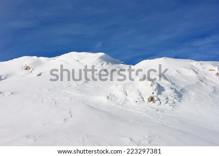 Ice cold desert. Winter landscape of high mountains of the Crimean in sunny weather.