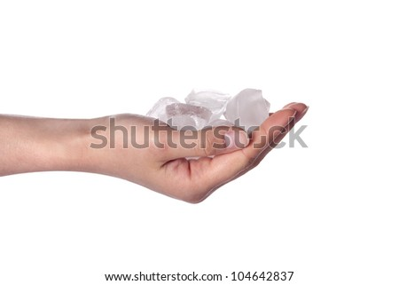 Ice cold hand. Woman hand holding ice cubes - closeup.
