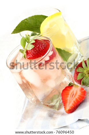 Ice Cold Lemonade  and strawberry cocktail