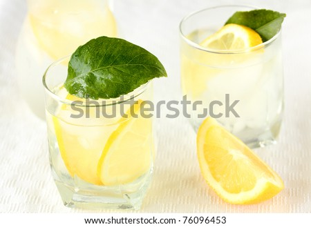 Ice Cold Lemonade or lemon cocktail,shallow dof