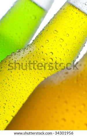 Ice cold tropical drinks on white background