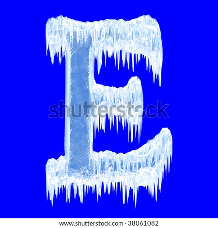 Ice-covered alphabet. Letter E.Upper case.With clipping path.