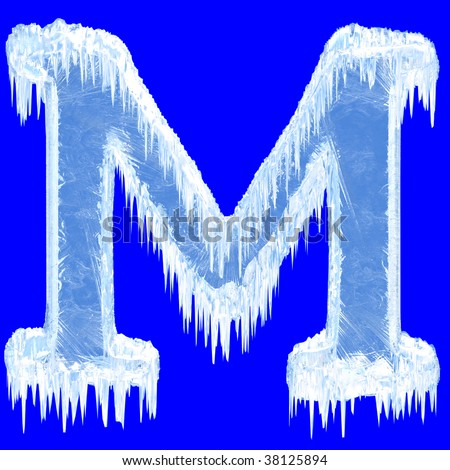 Ice-covered alphabet. Letter M.Upper case.With clipping path.