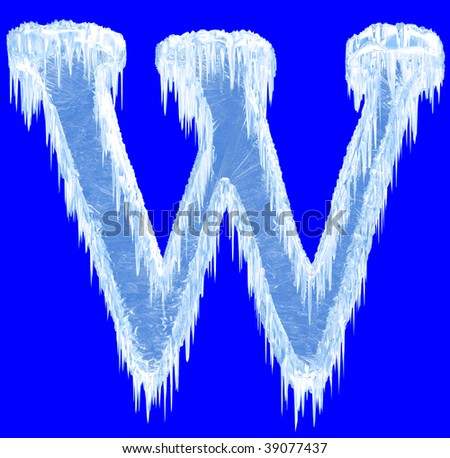 Ice-covered alphabet. Letter W.Upper case.With clipping path.