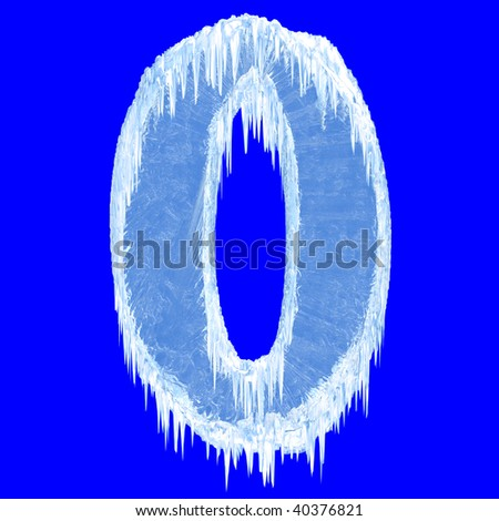Ice-covered alphabet. Number zero. With clipping path.