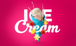 ice cream and fruit banner manipulation.   Ready typography. Pink background. Fruit explotion and ice cream. Taste