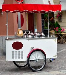 ice cream cart in Menaggio lake como Italy