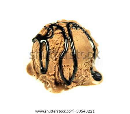 Ice cream chocolate scoop with chocolate glaze isolated on white background