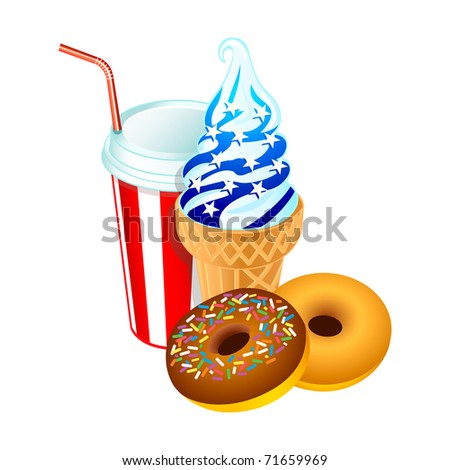 Ice-cream cone, doghnuts and soda drink in american flag colors - stock photo