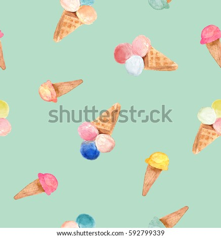 Ice cream cone pattern, hand drawn watercolor sketch