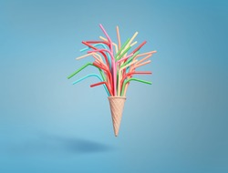 Ice cream cone with colorful drinking straws on bright blue background
