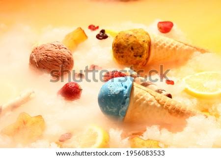 ice cream cone with Various types of ice cream cones include wafer cones, waffle cones, and sugar cones.