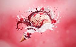 Ice cream cones of Scoop of Vanilla Raspberry Ripple Ice Cream with Fresh Ingredients on pink Background, sweet ice cream waffle cone with milk and syrup splash Splashes of ice cream with raspberries