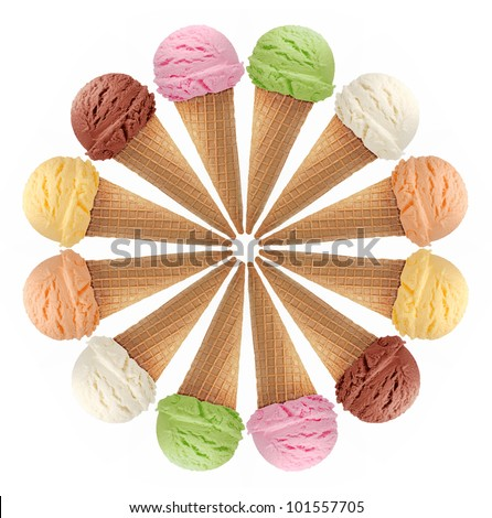 ice cream cones on white background