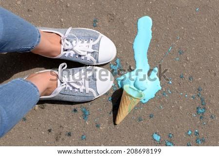 Ice cream fell on asphalt top view Stockfoto ©