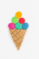 Ice cream  from children bright plasticine - Stock Image macro.