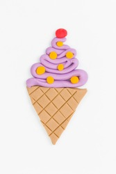 Ice cream  from children bright plasticine - Stock Image macro.