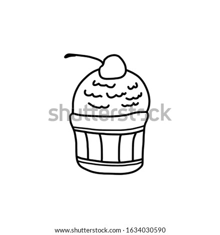 Ice cream in a plate, line drawing, sketch, sketch