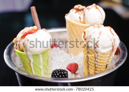 Ice cream in an ice bucket and fruit