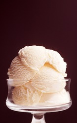 ice cream in glass bowl with background