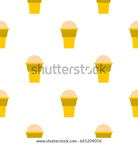Ice cream pattern seamless background in flat style repeat  illustration #665204056
