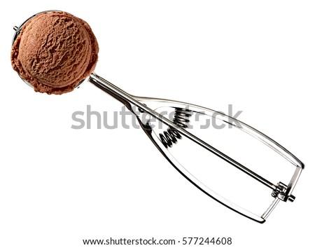 Ice Cream Scoop Or Scooper With Chocolate Ice Cream Isolated On White Background