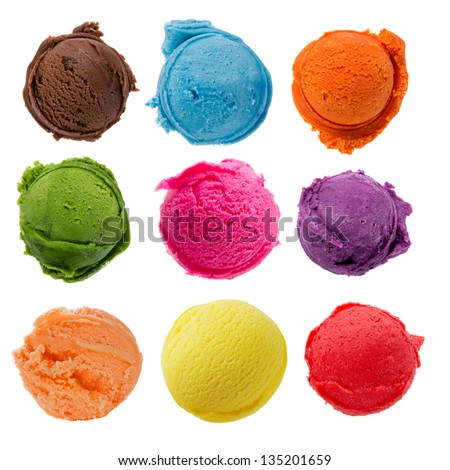 Ice cream scoops collection on white background Stock photo ©