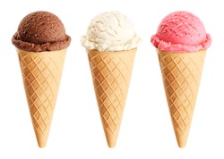 Ice cream scoops in cones with chocolate, vanilla and strawberry isolated on white background. Collection with clipping path.