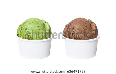 Ice cream scoops in white cups of green tea and chocolate flavours isolated on white background (clipping path included) #636491939