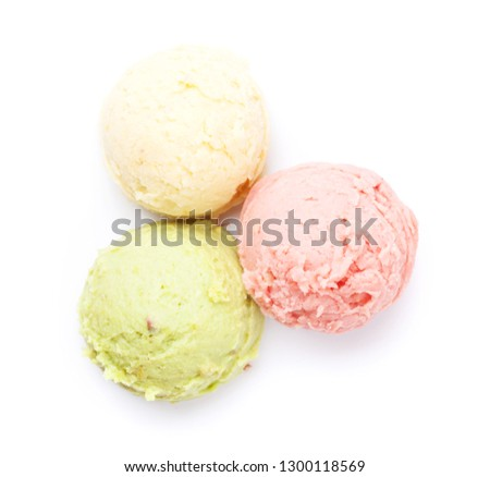 Ice cream scoops. Isolated on white background