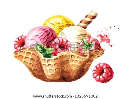 Ice cream scoops with wafer stick and berries in waffle bowl. Watercolor hand drawn illustration, isolated on white background